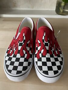 """Vans Slip-on """"Checker Flame"""" Red Size 10"""