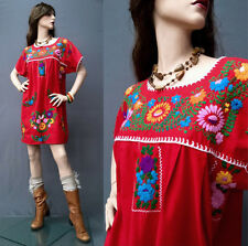 RARE Vintage 70s Hippie Embroidered Mexican Dress Oaxacan Caftan Boho Mini OS