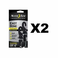"""Nite Ize KnotBone Adjustable Bungee Small 5mm 6""""-28"""" w/ Carabiner Clip (2-Pack)"""