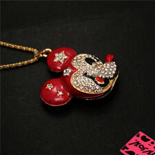 Enamel Mouse Head Sweater Chain Necklace New Betsey Johnson Red Crystal Cute