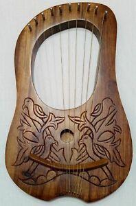 Lyra Harp Rosewood 10 Metal Strings/Birds Lyre Harp Metal Strings Free Case