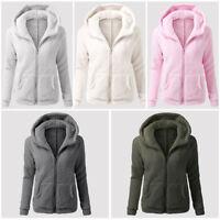 S-5XL Women's Winter Teddy Bear Pocket Coat Fleece Fur Jackets Outerwear Hoodies