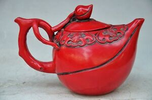 DELICATE CHINESE RED CORAL HAND CARVED BAT & OF LEAVES TEAPOT