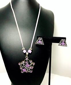 Be Jeweled Filigree Lavender Silver Leather Rhinestones Necklace Earring Set