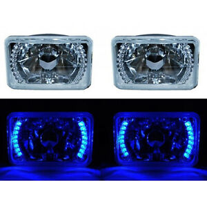 "4X6"" Blue LED Halo Angel Eye Headlight Halogen Headlamp 55/60W Light Bulbs Pair"