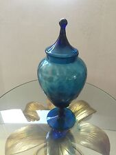 MID CENTURY MODERN LARGE BLUE GLASS APOTHECARY JAR EMPOLI RARE ITALY