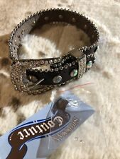 """NWTs Showman Couture Leather Boutique DOG COLLAR w/ Genuine RHINESTONES 10''-14"""""""