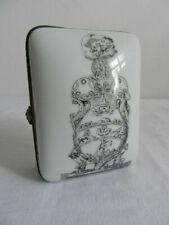Vintage Victoriana black & white ceramic soap dish/case metal trim