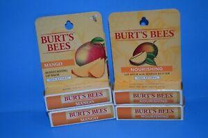 Lot Of 4 Burt's Bees Moisturizing & Moisturizing Lip Balm - Mango 0.15 oz