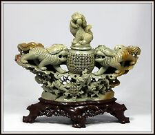 "GRAND! ""Chinese Hand Carved Foo Lions Incense Censor"" Exquisite (11"" H  x 12"" W)"