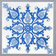 Original Antique Majolica tile Stunning Cobalt Blue AESTHETIC STYLE FLOWERS