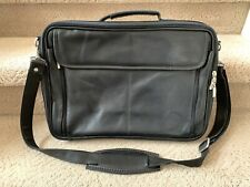 Michel Domit Leather Portfolio Laptop Shoulder Bag Briefcase Black High Quality