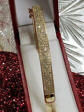 ⭐14K YELLOW GOLD STERLING SILVER 1 1/2 1.5 CARAT DIAMOND CUFF BANGLE BRACELET