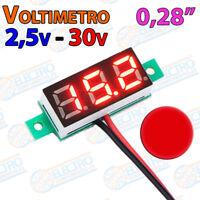Mini Voltimetro 2,5v - 30v ROJO DC display 0,28 2 hilos digital voltmeter led