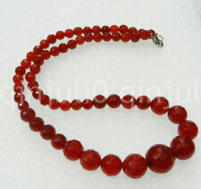 """Faceted 6-14mm Exquisite Red Ruby Round Beads Gems Jewelry Necklace 18"""""""