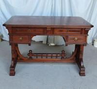 Antique Victorian Walnut Desk - Flat Top - Writing Desk - Leather Top Fancy