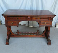 Antique Victorian Walnut Desk - Flat Top - Writing Desk - Leather Top Fancy
