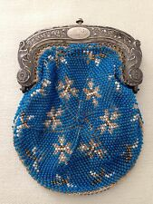 Antique Art Deco Sterling Silver Embossed Framed Blue Beaded Coin Purse