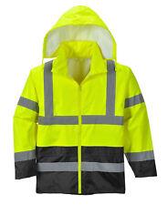 Hi Vis Rain Jacket Reflective Tape Hood Waterproof ANSI, Reflective Coat, S-7XL
