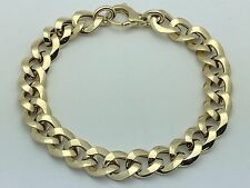 "New 14K Yellow Gold Hollow Italian 7.5"" Cuban Link Chain Bracelet 5.9 grams 9 mm"