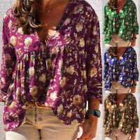 ZANZEA Women Long Sleeve V Neck Floral Print Shirt Tops Casual Blouse Plus Size