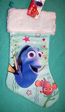 "New Disney Nemo Dora Holiday Stocking 16"" Green Sea Scene Kids Pixar"