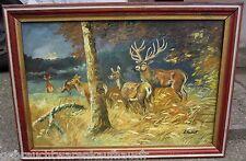 """Gemälde Bild """"Hirsch mit Rehen"""" auf Holz in der Görße 49 cmx 68cm im Holzrahmen"""