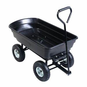New Black Garden Dump Cart 75L 300kg Wheelbarrow Tipping Trolley Truck Trailer