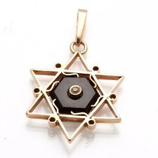 Estate 14k light rose gold Jewish Star of David Black Onyx CZ pendant Vintage