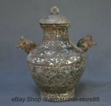 """8.8"""" Old China Bronze Ware Silver Dynasty Palace Dragon Handle drinking vessel"""