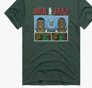 Milwaukee Bucks NBA Jam Bucks Antetokounmpo And Middleton Shirt Green Cotton Tee