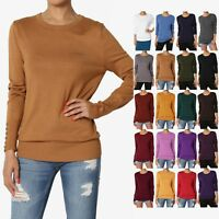 TheMogan S~3X Button Long Sleeve Crew Neck Loose Fit Knit Pullover Sweater Top