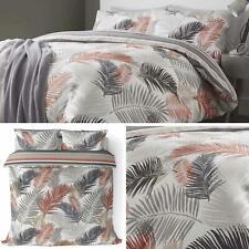 Copper Duvet Covers Grey Tropical Palm Leaf Reversible Quilt Cover Bedding Sets
