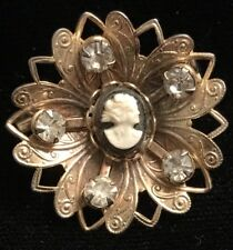 Fancy & Exquisite Antique Gold Tone Filigree w/ Cameo & Rhinestone Pin Brooch 1""