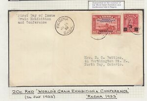CANADA 1933 GRAIN EXHIBITION OVERPRINT FIRST DAY COVER FDC REGINA TO NORTH BAY