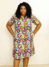 Ankara African print shift dress summer multicolour U.K. Size 12, 14, 16, 18