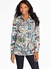 NWT $90 TALBOTS TEAL WATERCOLOR PAISLEY BLOUSE SIZE LARGE (LIKE 14-16)