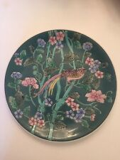 Round Decorative Plate Teal Green With Bird