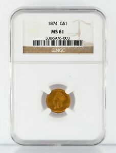 1874 G$1 US Gold Indian Princess Graded by NGC as MS-61! Gorgeous Early Dollar!