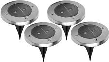 Solar Pathway Garden Lights built-in sensor LED Stainless Steel NEW Set of 4