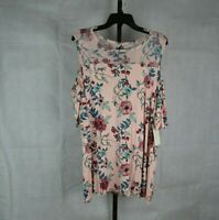 French Laundry Women's Cold Shoulder Blouse Plus Size 2X Pink Floral with Lace