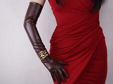 "Long Gloves Faux Leather PU 24"" 60cm Opera Evening Black Tan Brown Camel Beige"
