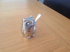 More details for a stunning rare small silver/plate owl mustard pot with hallmarked silver spoon