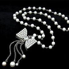 Perlen Schleife Kette Perle Halskette weiss silber-farbig Strass Perlenkette