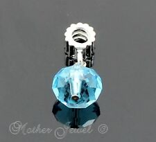 WHITE GOLD GP FACETED 12MM TURQUOISE BLUE CRYSTAL EUROPEAN CHARM DANGLE BEAD