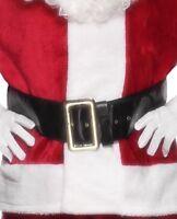Vestito Natale da Uomo Unisex Babbo Natale Cintura 145cm Nero da Smiffys Nuovo