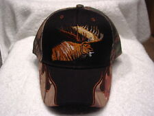 MOOSE OUTDOOR HUNTING BASEBALL CAP HAT ( CAMOUFLAGE AND BLACK )