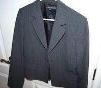 Antonio Melani Blazer Jacket 6 Black Teal Silver Pinstripe Fully Lined Small