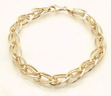 "8"" Technibond Diamond Cut Twisted Oval Link Bracelet 14K Yellow Gold Clad Silver"