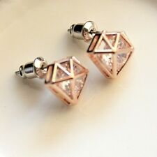 STUNNING STUD EARRINGS - CLEAR OR AB CRYSTAL ENCLOSED WITHIN DIAMOND CAGE